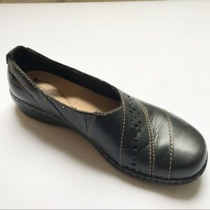 Clarks Leather Loafers Flats Black 7N